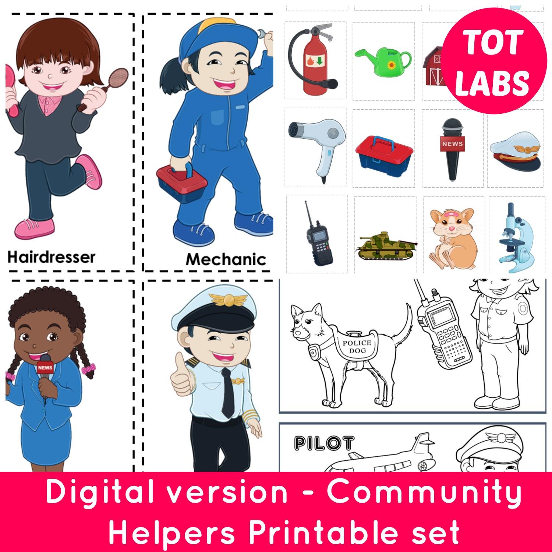 Digital Community Helpers Digital Download Printable File Pdf Version Mumma Diaries - View Free Printable Community Helpers Worksheets For Kindergarten Pdf Background